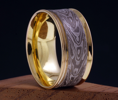 with rings gold gane design australia mdt half round collections collection stripes white ring mokume