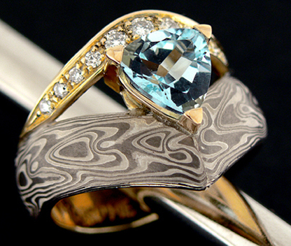 anello oro mokume gane