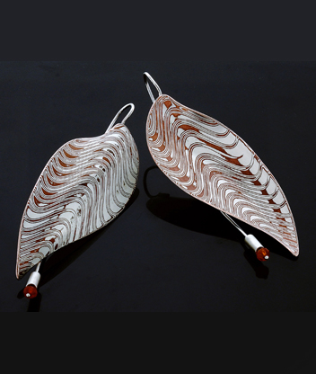 Leaf Earrings in Mokume Gane
