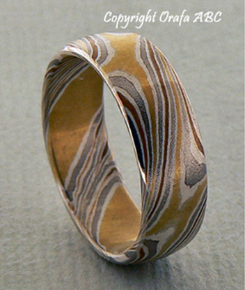 Star wedding ring, Mokume Gane