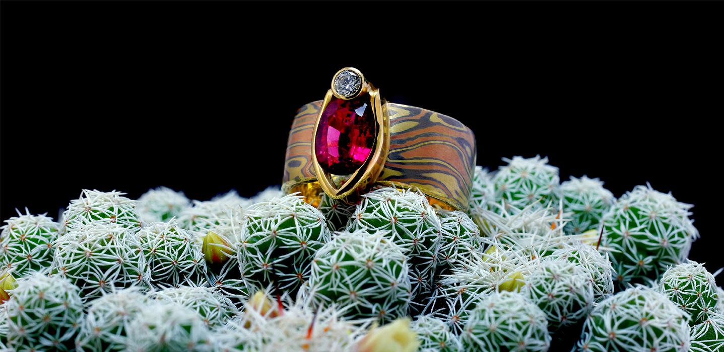 Anello collezione gioielli Mokume Gane