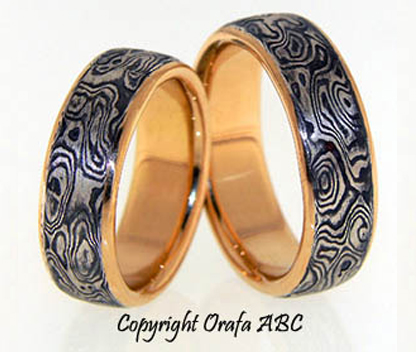 damasco mokume gane wedding rings