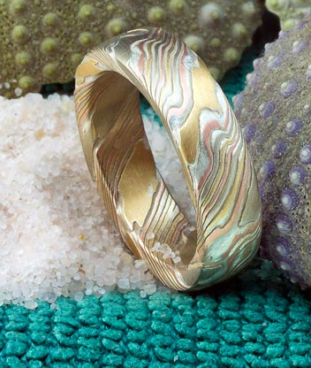treccia mokume gane wedding ring