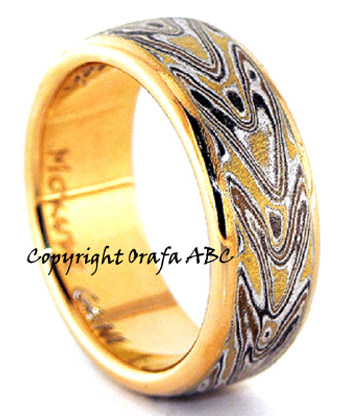 Love arrows wedding ring, Mokume Gane