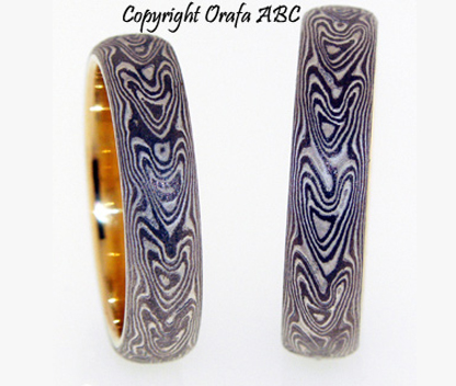 Love arrows wedding rings, Mokume Gane