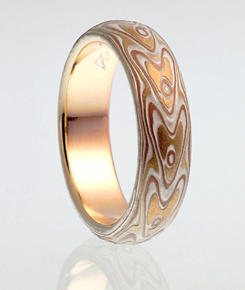 mokume gane love arrows wedding ring