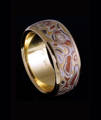 4 colors mokume gane wedding ring