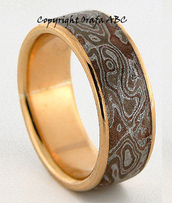 mokume gane puzzle wedding ring