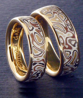 mokume gane puzzle wedding rings