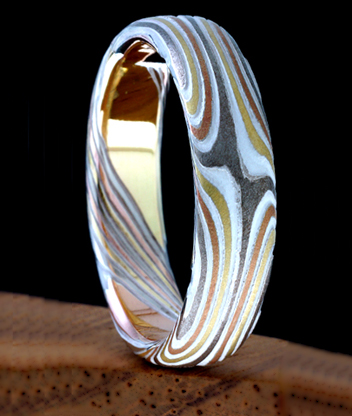mokume gane star wedding ring