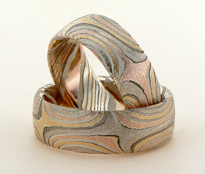 star mokume gane wedding rings