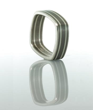four lines square titanium ring